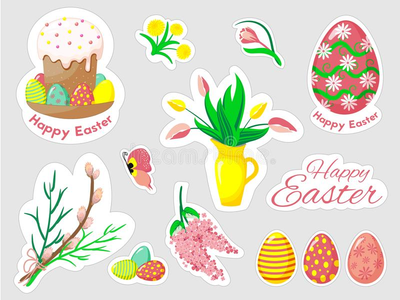 Beautiful set of Easter doodles in vector. stock photos