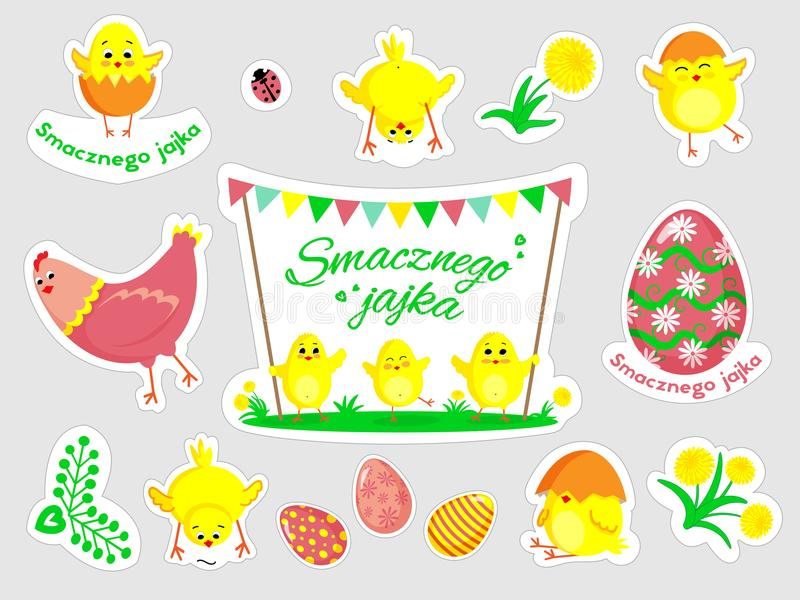 Beautiful set of Easter doodles in vector. stock image