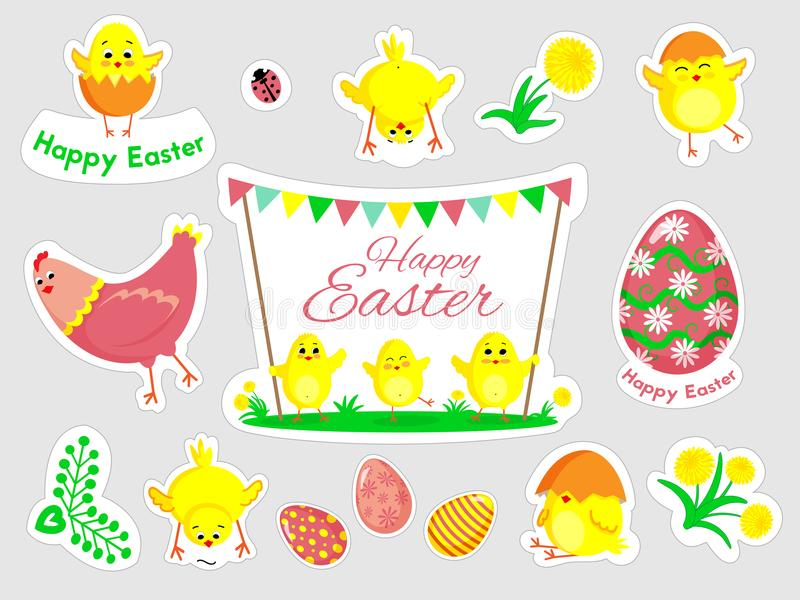 Beautiful set of Easter doodles in vector. stock photo