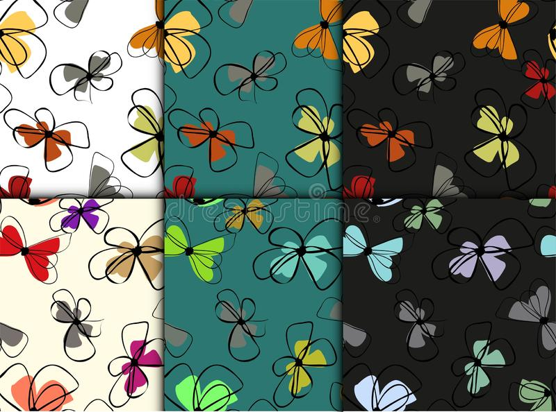 Beautiful set with flowers colorful seamless. Spring blossom background. Seamless vector texture. Vintage natural pattern. Summer stock illustration