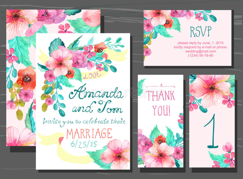 Beautiful set of invitation cards with watercolor flowers elements and calligraphic letters royalty free illustration