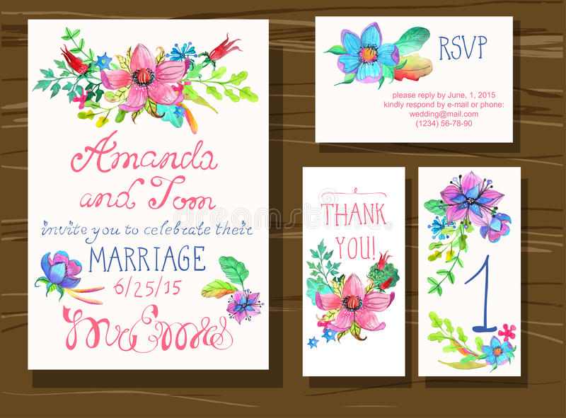 Beautiful set of invitation cards with watercolor flowers elemen vector illustration