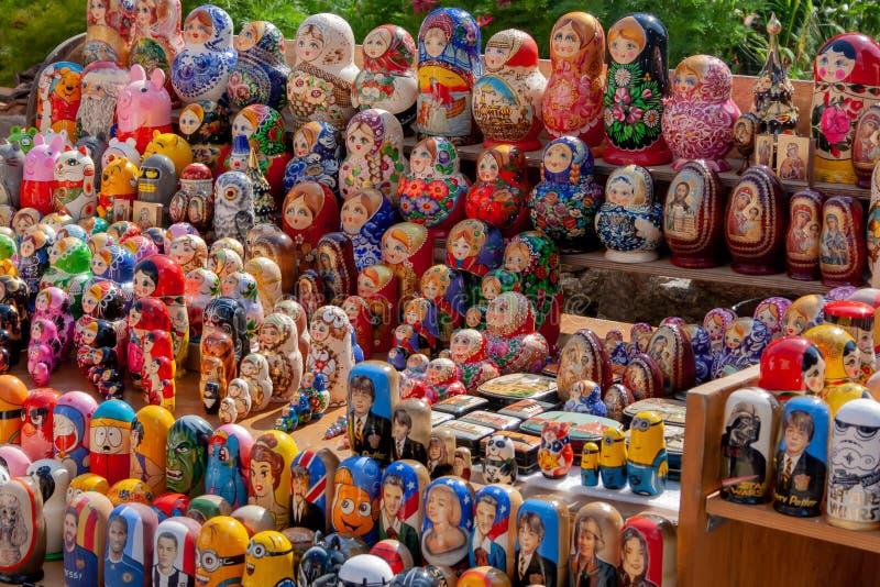Beautiful Set of Nesting Dolls or Matryoshka Russian Wooden Doll Souvenir stock images