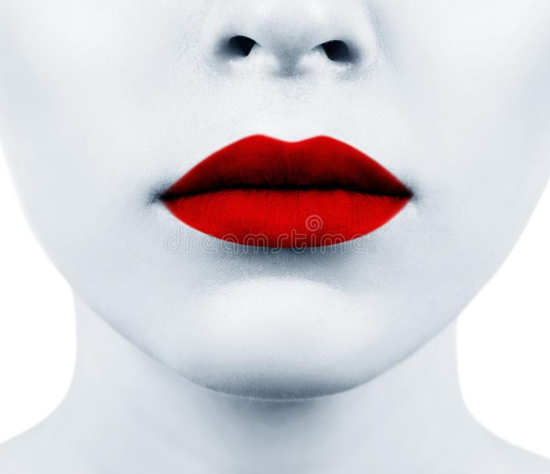 Beautiful sexual red lips closeup. Sensual mouth of young woman stock image