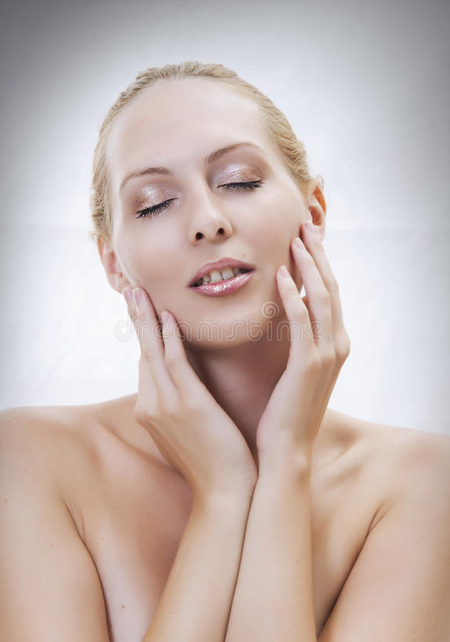 Beautiful sexual woman face close-up stock images