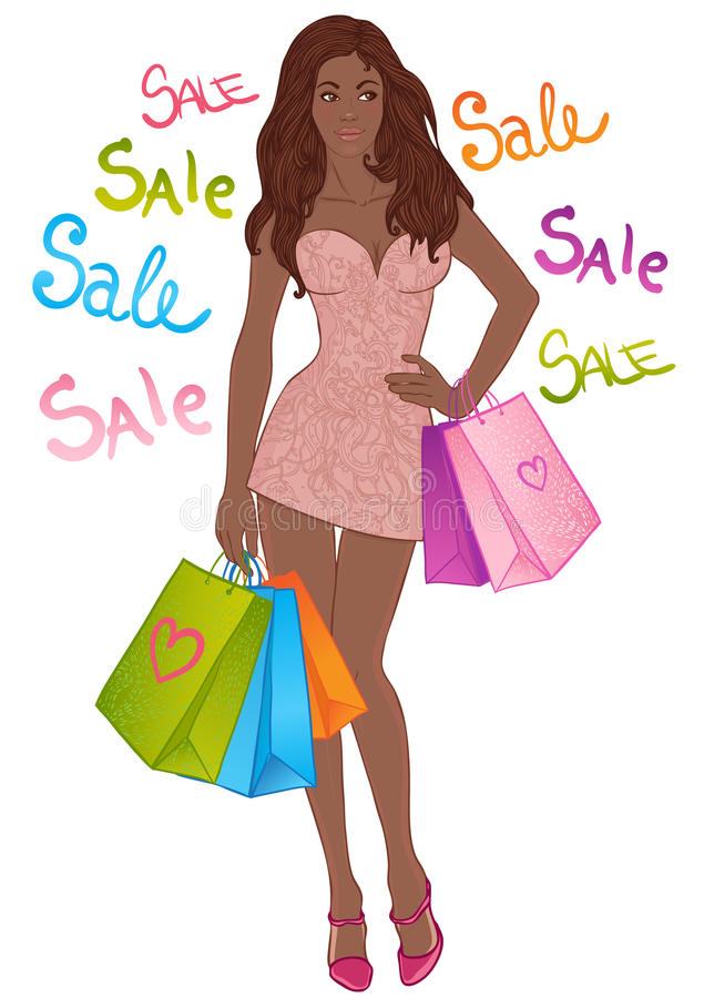 Beautiful African American Girl With Shopping Bags Stock -8642