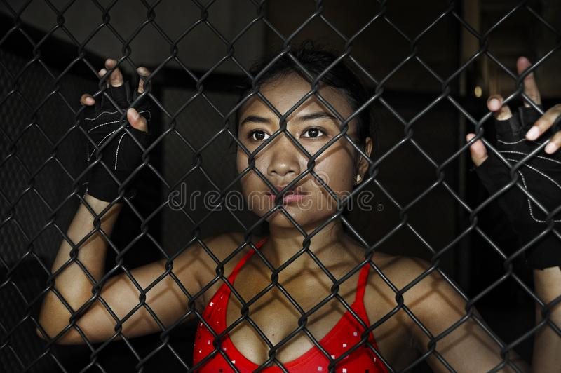 Beautiful and Asian fighter woman in fighting gloves and sport clothes inside MMA cage posing cool stock photos