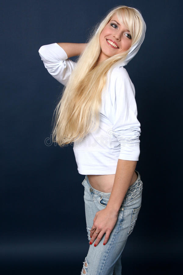 Beautiful and blonde girl stock photo