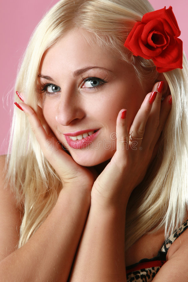 Beautiful Blonde With Red Flower In Hair Stock Image ...