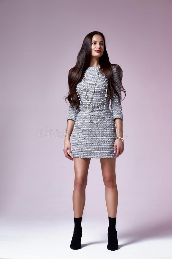 Beautiful brunette woman business office style fashion clothes fall collection perfect body shape pretty face makeup smile. Wear grey dress skinny casual royalty free stock photography