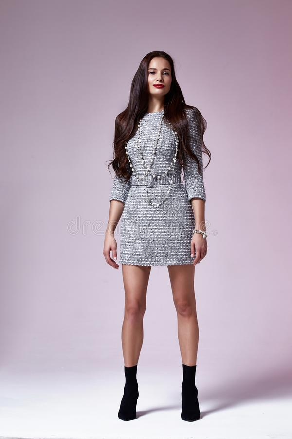 Beautiful brunette woman business office style fashion clothes fall collection perfect body shape pretty face makeup smile. Wear grey dress skinny casual royalty free stock images