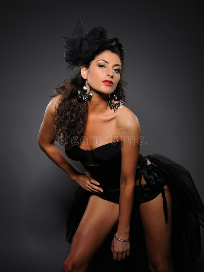 Beautiful cabaret girl dancing stock photography