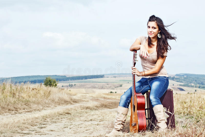 Beautiful country guitar girl stock images