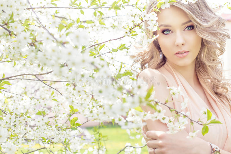 Beautiful elegant sweet blue-eyed blonde girl in the garden near the cherry blossoms on a sunny bright day royalty free stock images