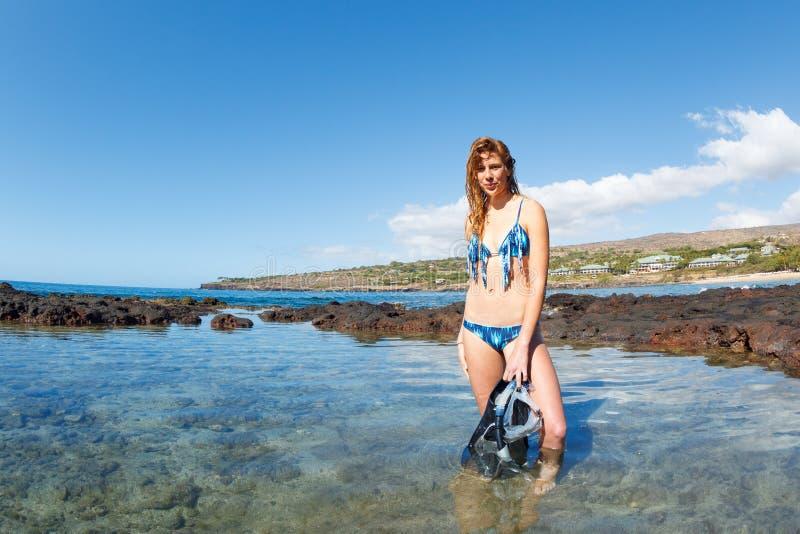 Download Beautiful Female Snorkeler stock image. Image of barefoot - 28630385