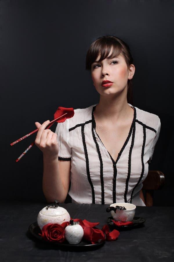 Download Beautiful girl stock photo. Image of dark, make, chopstick - 4936848