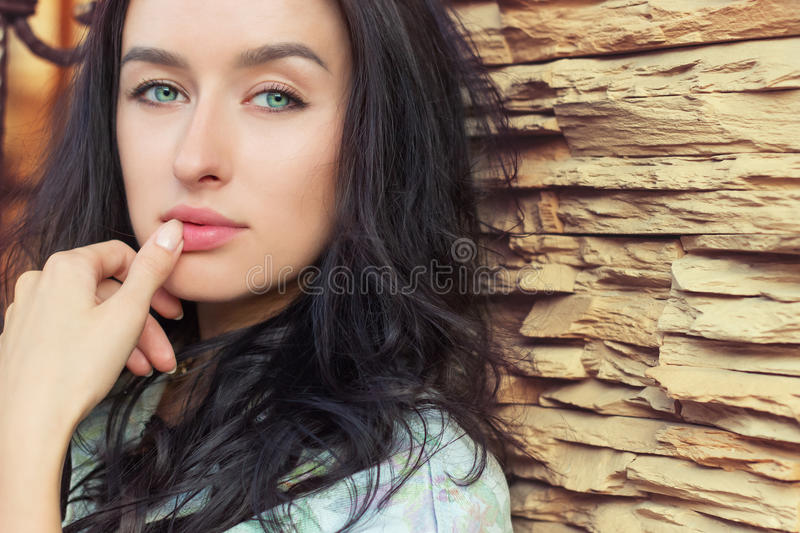 Blond Woman Green Eyes White Brick Wall Stock Photo Image Of