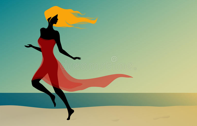Download Beautiful Girl Running On The Beach Stock Vector - Image: 29913434
