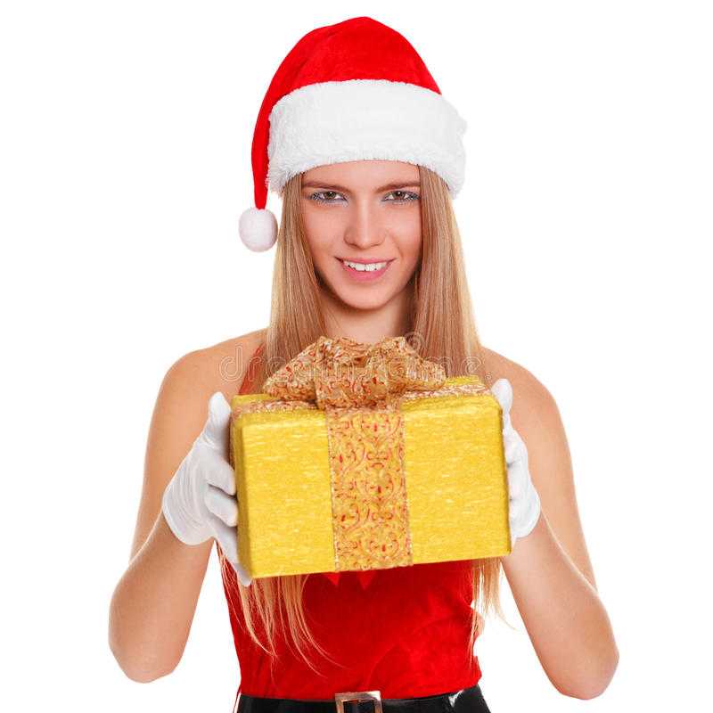 Beautiful girl wearing santa claus clothes with christmas gift. Isolated on white background stock photo