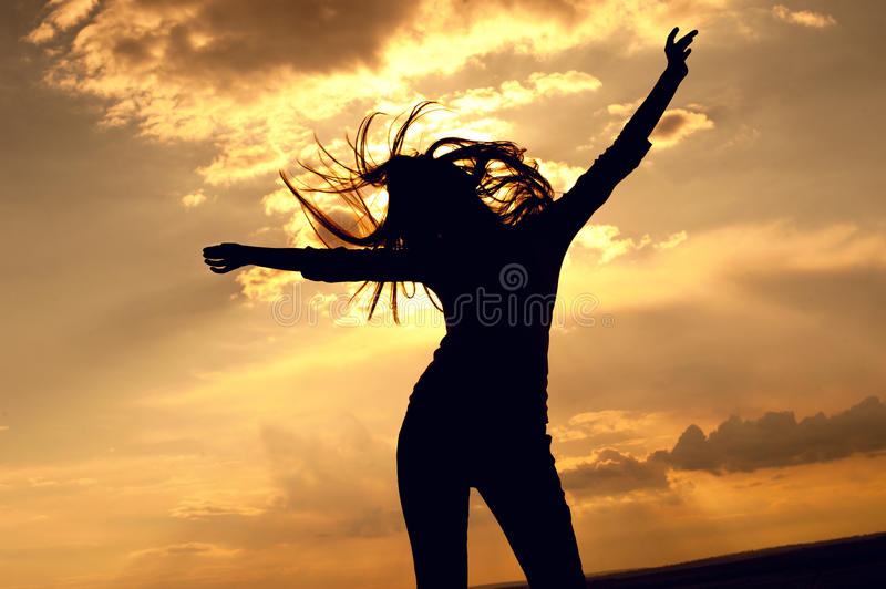 Beautiful woman dancing stock photography
