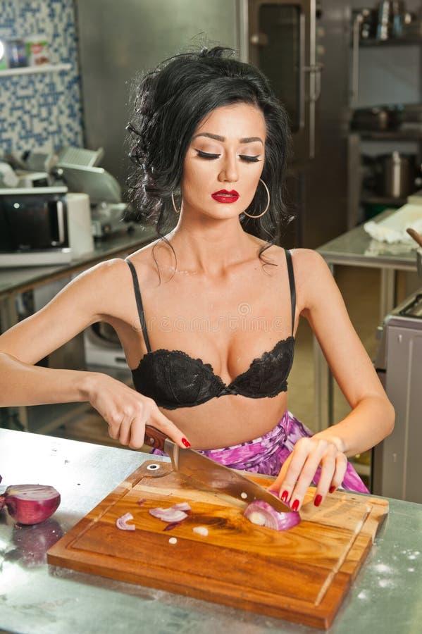 women the black Sexy kitchen in