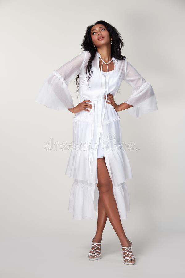 Silk Meeting In My Bedroom: Beauty Woman Wear Stylish Casual Clothing For Meeting Walk