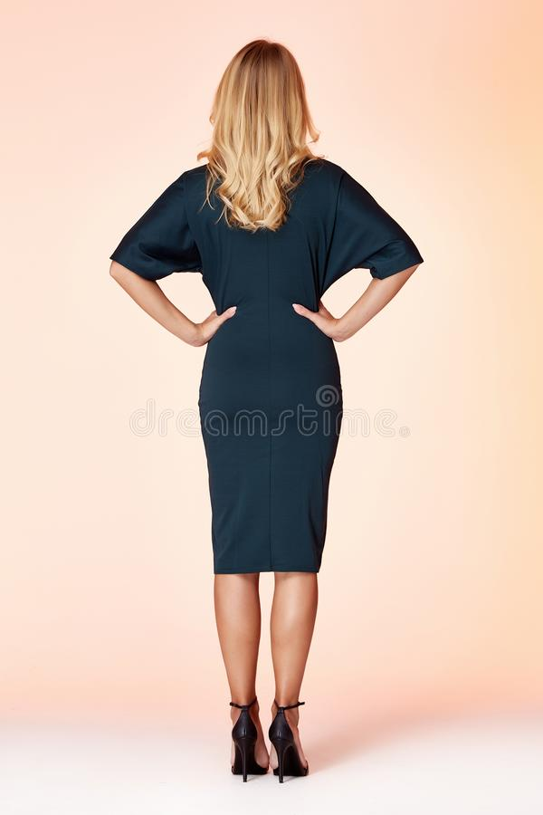 Free Beautiful Sexy Woman Pretty Face Long Blond Hair Wear Green Color Skinny Dress Fashion Style Clothes Party Walk Fall Collection Stock Photography - 148131832
