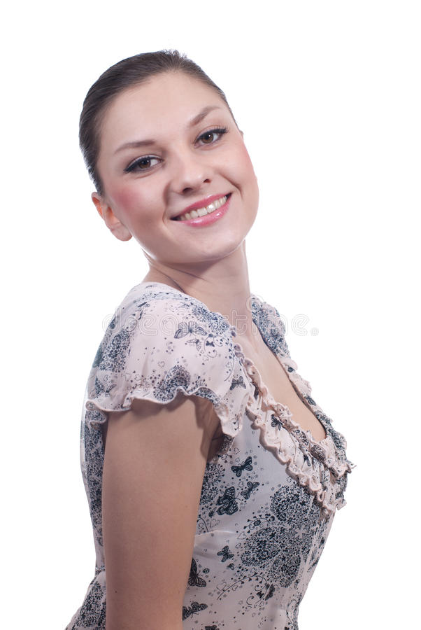 Beautiful woman smiling isolated stock photography