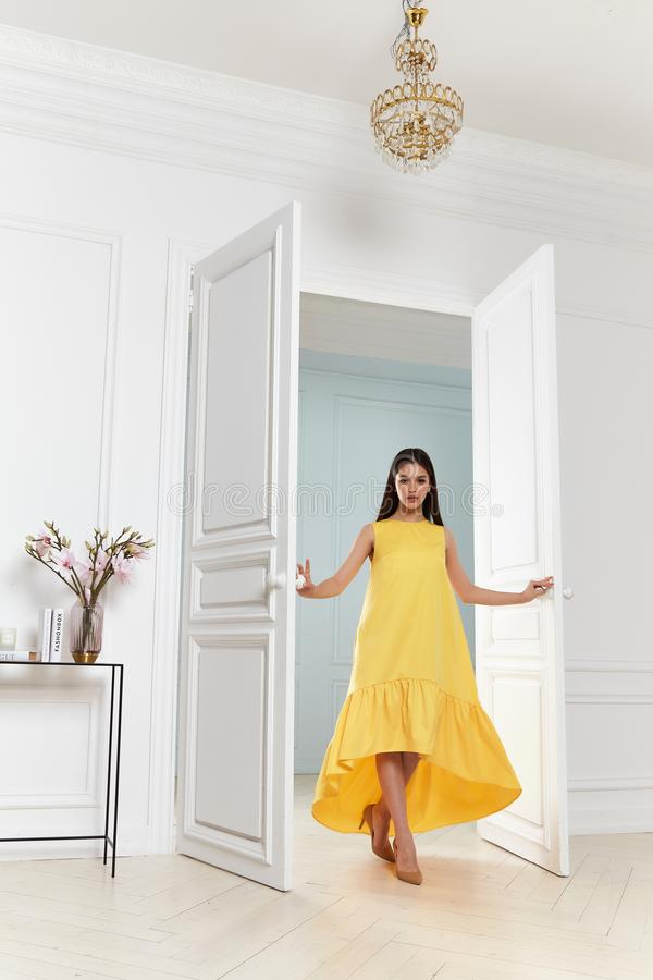 Beautiful Woman Wear Fashion Summer Collection Clothes Casual Style Party Office Skinny Yellow Dress Code Pretty Model Stock Image Image Of Casual Fashion 147663581