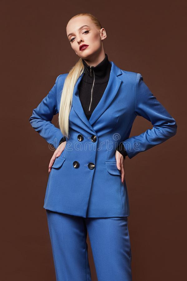 Free Beautiful Sexy Woman Wear For Meeting Date Business Style Suit Jacket Pants Accessory Fashion Collection Shoes Model Pose Long Royalty Free Stock Photo - 162400695