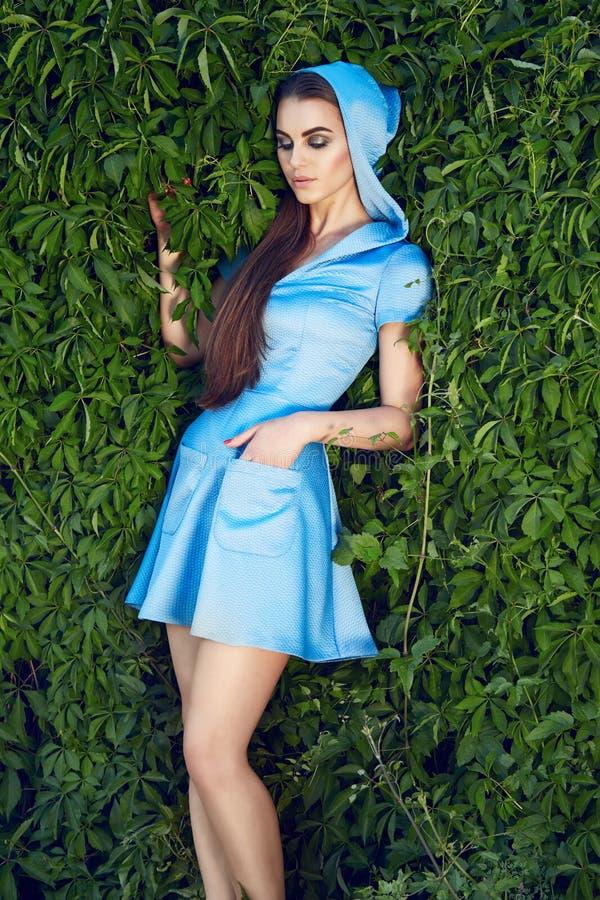 Beautiful woman wearing dress walk park sun shine makeup royalty free stock image