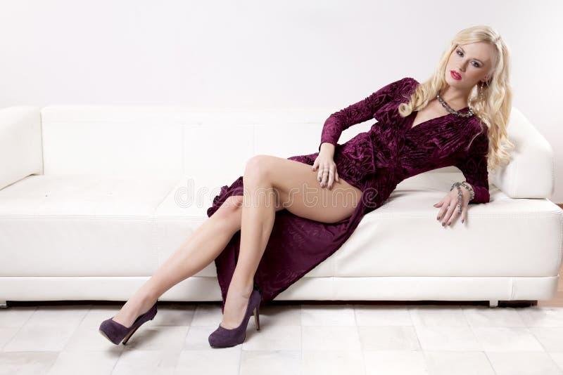 Beautiful Blonde Model Panties Wearing Stock Images