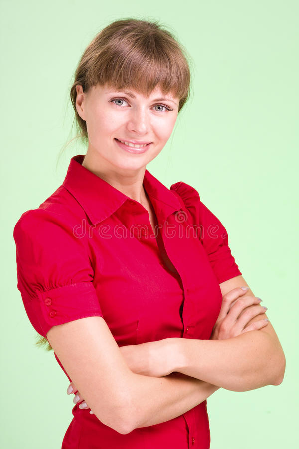 Beautiful and woman wearing red shirt royalty free stock images