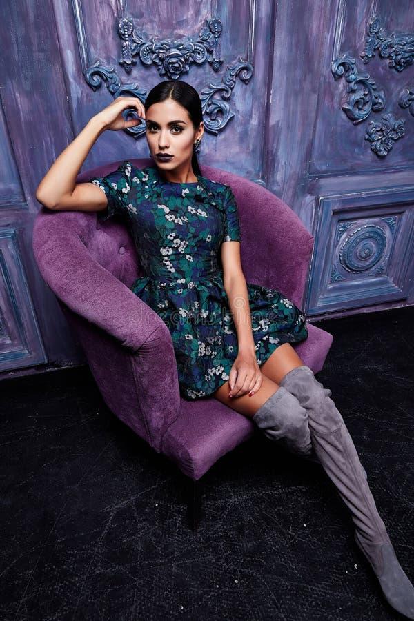 Beautiful young business woman brunette hair evening makeup stock photos