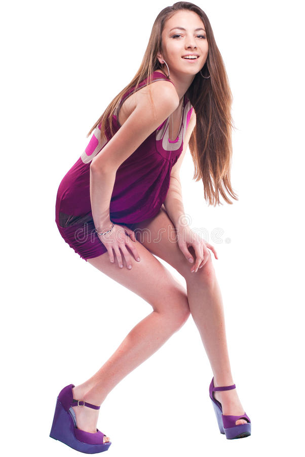 Beautiful sexy young model posing isolated