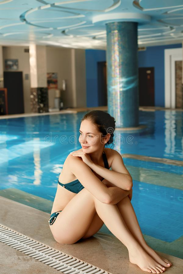 Beautiful Sexy Young Woman, Girl With Healthy Skin In Bikini Relaxing In Swimming Pool Water In Resort Relax Spa Hotel. Holidays V. Acation. Body Health Care stock photos