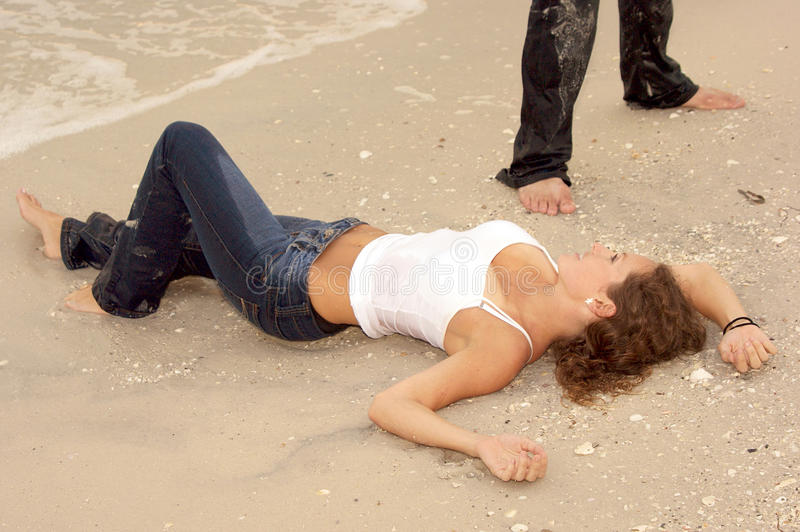 Download Beautiful Young Woman In Wet Jeans At Beach Stock Photo - Image: 9657468