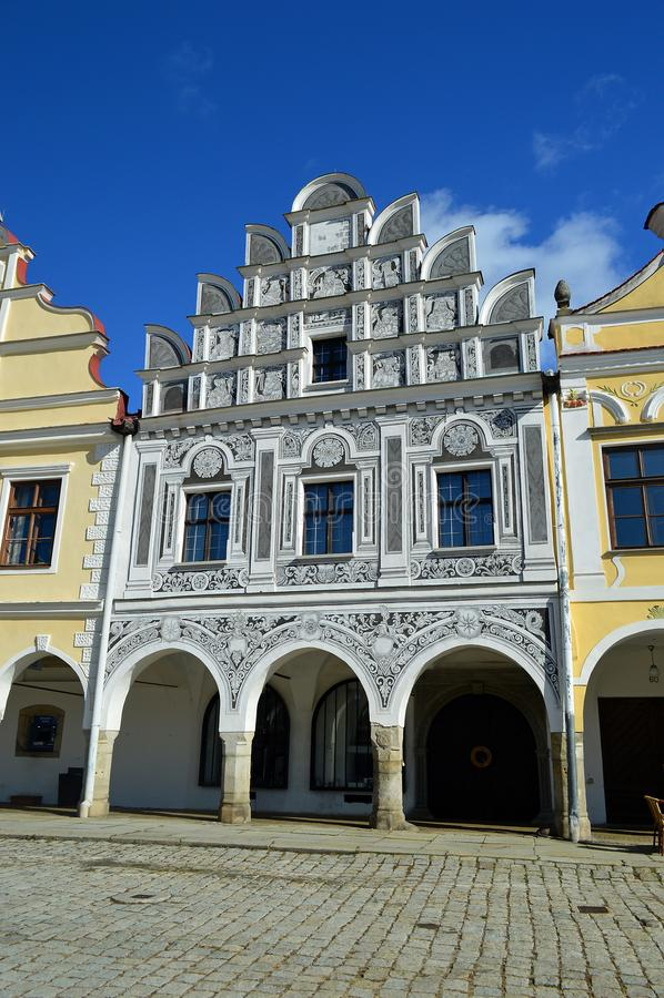 Free Beautiful Sgraffiti Details Om Building In Telc, Czech Republic Stock Photography - 136721842