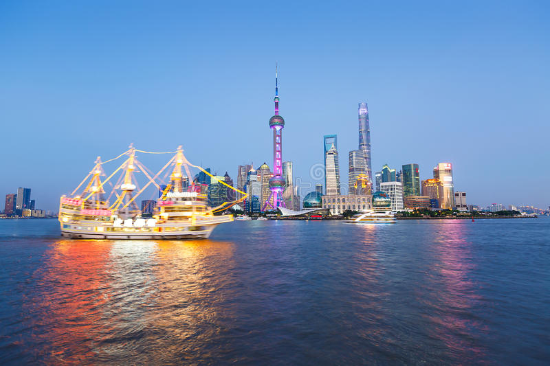 beautiful Shanghai city landmark buildings royalty free stock photography