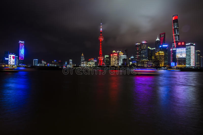 Beautiful Shanghai Pudong skyline at dusk stock photography
