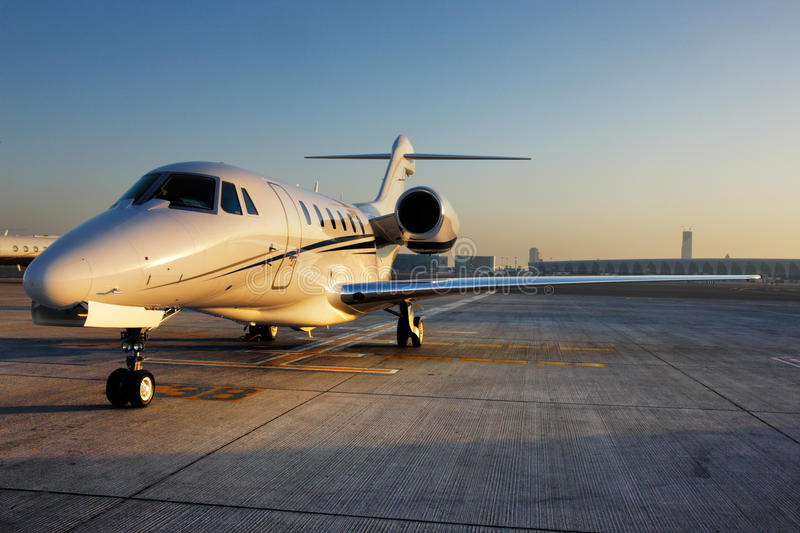 Beautiful shape of a private jet stock images