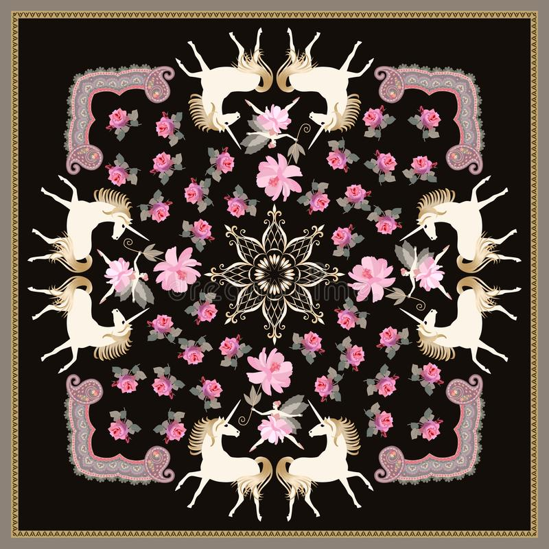 Beautiful shawl with white unicorns and fairy ballerina, ornamental frame, golden mandala, pink garden flowers on black background. In vector vector illustration