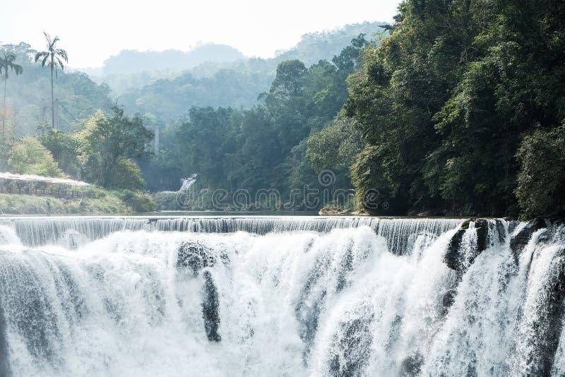 Beautiful Shifen Waterfall in Taiwan. Close up stock image
