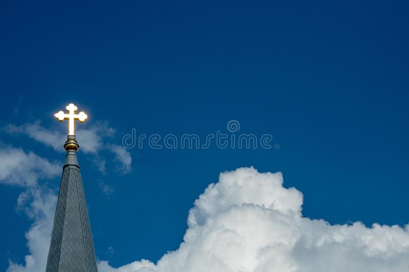Shining Cross in the Sky stock photography