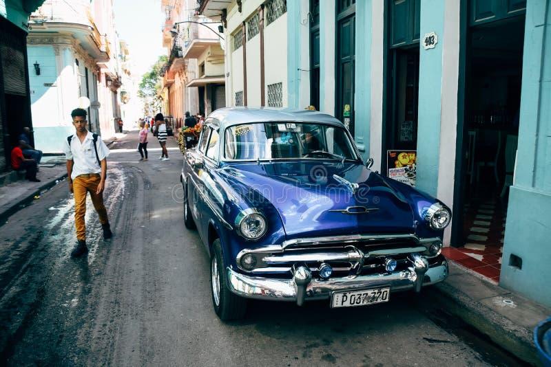 A beautiful classic car in Havana, Cuba. A beautiful shiny blue classic car parked in Havana, Cuba royalty free stock image