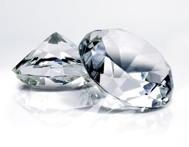 Beautiful shiny diamonds, on white background stock photos
