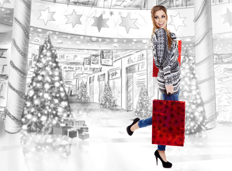 Download Beautiful shopping woman stock image. Image of retail - 28104053