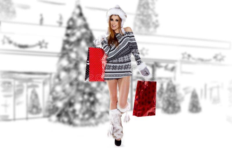 Beautiful Shopping Woman Royalty Free Stock Photography