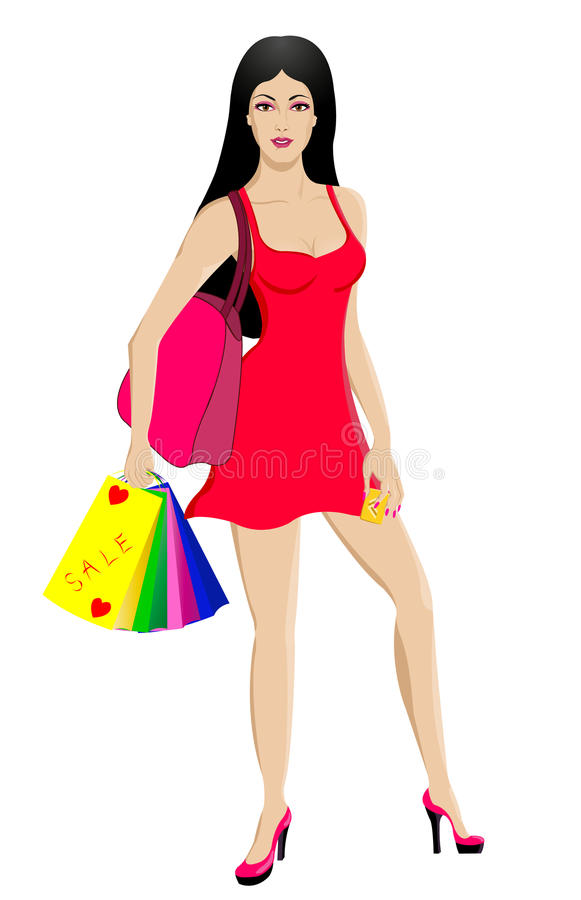 Download Beautiful Shopping Woman With Gold Credit Card Stock Illustration - Image: 22830157