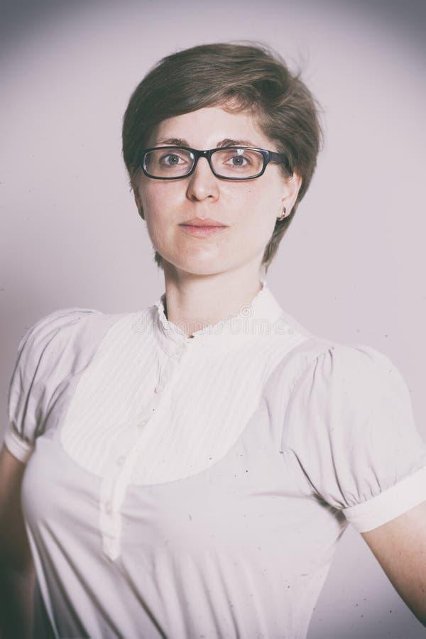 Beautiful short hair woman, retro fashion image stock photos